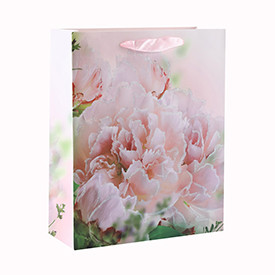High Quality Flowers Various Sizes Glitter Ribbon Handle Paper Gift Bag with 4 Designs Assorted