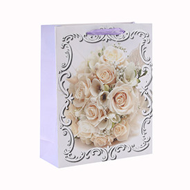 Wedding Custom Printed Flower Pattern Various Sizes Paper Gift Bag with 4 Designs Assorted