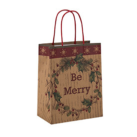 Wholesale Custom Christmas Brown Kraft Shopping Gift Paper Bag With Handles
