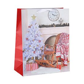 High Quality Merry Christmas Gift Paper Packing Bag with Handles