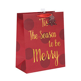 2018 Christmas Gift Recyclable Custom Printed Paper Gift Bag with Hang Tag with Different Size