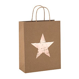 Recycled Custom Printed Pentagram Pattern Natural Kraft Paper Bags