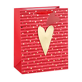 Hot stamping happy Valentine's Day 3D heart gift bags with 2 designs assorted