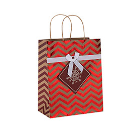 High Quality Decorative Hot Stamping Christmas Brown Kraft Paper Gift Bags