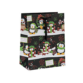 Wholesale Custom Offset Printing Merry Christmas Gift Bags with Paper Tags