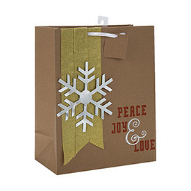New Arrival Christmas Snow Print Brown Craft Paper Gift Bags