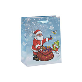 Fashion Custom Printing Craft Christmas Paper Gift Bags with 3 Designs Assorted