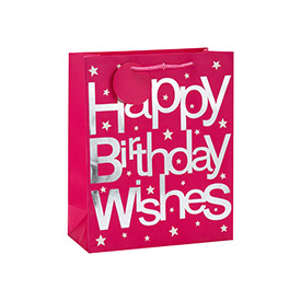 Luxury Hot Stamping Happy Birthday Wishes Gift Paper Bags