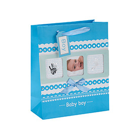 Baby Photo Design Ribbon Handle Baby Gift Paper Bags