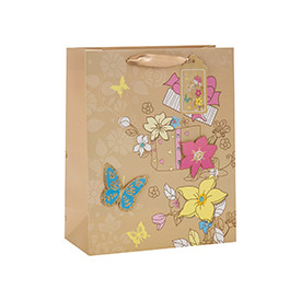 High Quality Decoration Flower Pattern Brown Kraft Gift Paper Bag with 4 Designs Assorted