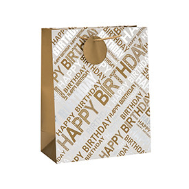 Fashion Design Hot Stamping Birthday Gift Paper Bag with Rope Handle