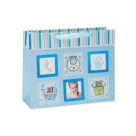 Cute Baby Photo Design Gift Paper Bags with Ribbon Handle
