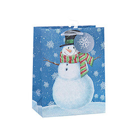 Snowman Decorative Printed Christmas Gift Paper Bag with 3 Designs Assorted