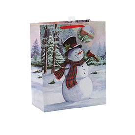 Fashion Glitter Christmas Snowman Gift Paper Bags with 4 Designs Assorted