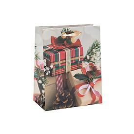 Custom Printed Premium Seasonal Christmas Paper Packing Bag with 4 Designs Assorted