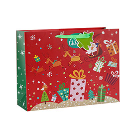 Luxury Merry Christmas paper gift bag with 4 designs assorted