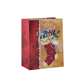 Paper Bag Custom Print Gift Bag Factory Price Christmas Paper Bag with 2 Designs Assorted