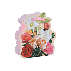 Fancy Design Flower Print Paper Bags with Your Own Logo with 4 Designs Assorted
