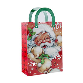 Custom printed Father Christmas paper gift bag with 4 designs assorted
