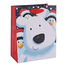 Custom Print Merry Christmas Art Paper Bags Season's Greeting Gift Bags Euro Tote Bags