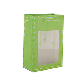 Orange And Green Fabric Effect Paper Gift Bags Shopping Gift Bags With Clear PVC Window
