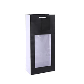 Classic Simplicity Design Solid Color Wine Bottle Art Paper Bag With PVC Window And PP Rope Handles