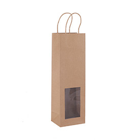 Wine Bottle Gift Bag Nature Color Kraft Paper Bag with PVC window and twisted paper handles