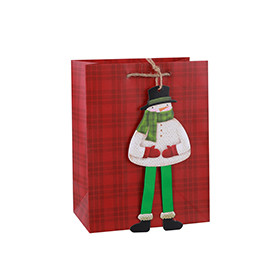 Merry Christmas art paper gift bag with big hang tag and jute rope handles assorted 2