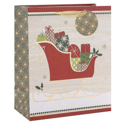 Santa Claus Merry Christmas custom Paper Bags With Glitter
