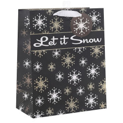 Merry Christmas custom snow Paper Bags With Glitter