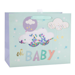 Baby Everyday White Card Paper Bag With Shaker Window, 3D, Hot Foil Stamping and Confetti