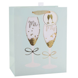 Merry Christmas Custom Paper Bags With Confitty and Hot Foil Stamping