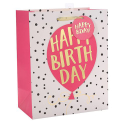 Happy Birthday Custom Paper Bags With Hot Foil Stamping
