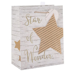 Merry Christmas Custom Star Paper Bags With 3D and Glitter
