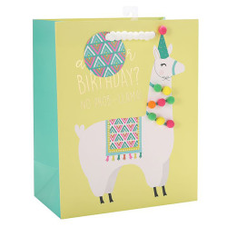 Alpaca Birthday gift Bag with hot foil stamping and 9 pom balls on front side