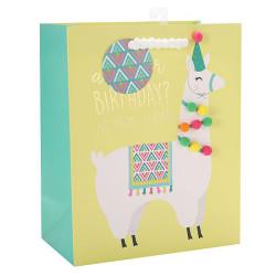 Alpaca Birthday gift Bag with hotfoilstamping and 9 pom ballsonfrontside