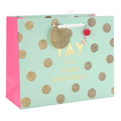 Birthday gift Bag with hot foil stamping, glitter and 1 pom ball