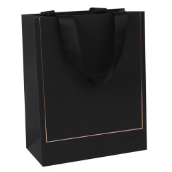Black card paper bag with hot foil stamping on both sides