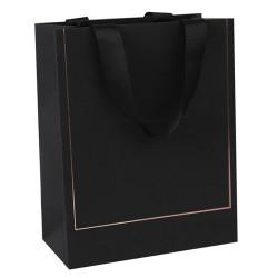 Black card paper bag with hot foil stamping on both sides