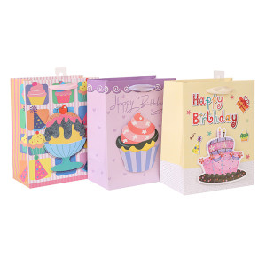 Baby Gift White card paper bag with 3D and glitter