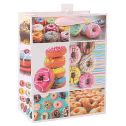 Donuts White card paper bag with 3D and glitter