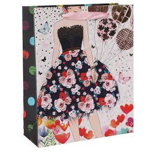 Симпатичная юбка Белая карточка Бумажный пакет с тиснением фольгой