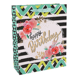 Birthday  White Card Paper Bag With Hot Foil Stamping