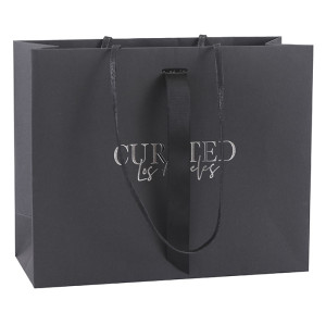 Jewelry industry customized Black Card Paper Bag with Hot Foil Stamping