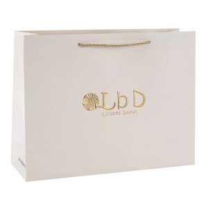 Simple And Elegant Design Customized White Card Paper Bag with Hot Foil Stamping