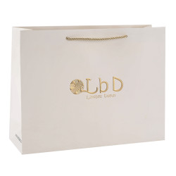 High Level Customized Paper Bags With Overall Embossed Patterns And Logo Gold Hot Foil Stamping