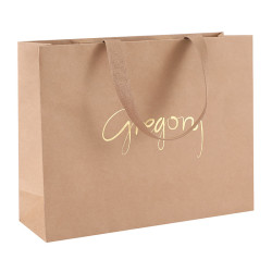 Simple And Generous Design Customized Brown Kraft Paper Bag with Hot Foil Stamping