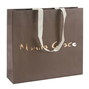 Brown paper bag Customized White Card Paper Bag With Hot Foil Stamping