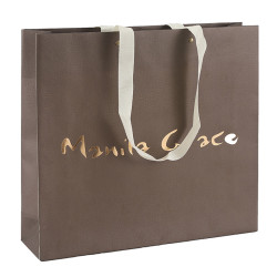 Customized Manila Grace Paper Shopping Bags Recycled White Kraft Paper With Embossed And Gold foil