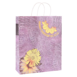 Recycled white kraft paper bag customized with paper twisted handles